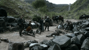 Michelle Fairley, Peter Dinklage, Ron Donachie, Jerome Flynn, Game of Thrones, The Wolf and the Lion