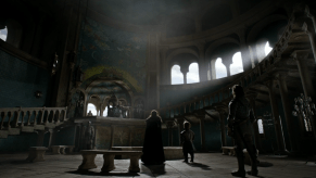 Michelle Fairley, Peter Dinklage, Ron Donachie, Jerome Flynn, Kate Dickie, Game of Thrones, The Wolf and the Lion, 01