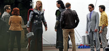 Chris Hemsworth, Jeremy Renner, Scarlett Johansson, Robert Downey Jr, Chris Evans, Mark Ruffalo, Tom Hiddleston, The Avengers 2012, set, 02