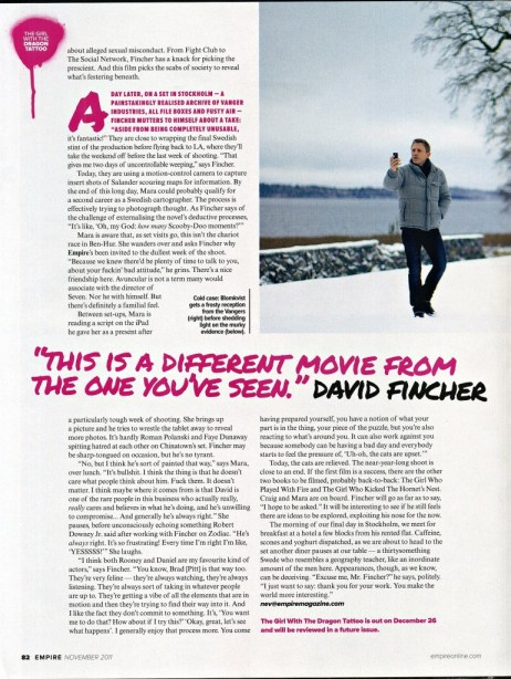 The Girl with the Dragon Tattoo, Empire Magazine November 2011 Article, 06