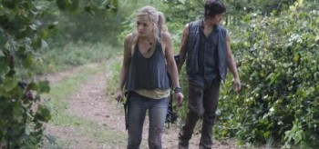 Emily Kinney Norman Reedus The Walking Dead Still