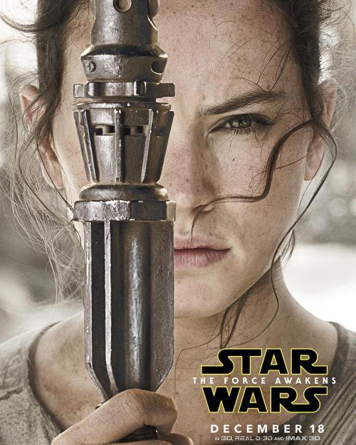 Rey Daisy Ridley Star Wars The Force Awakens movie poster