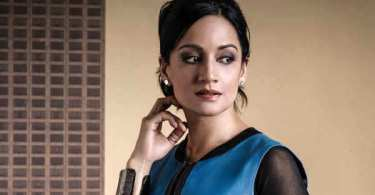 Archie Panjabi Blue Black Dress