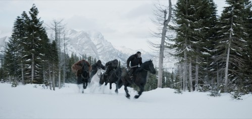 Caesar Horseback Snow War for the Planet of the Apes