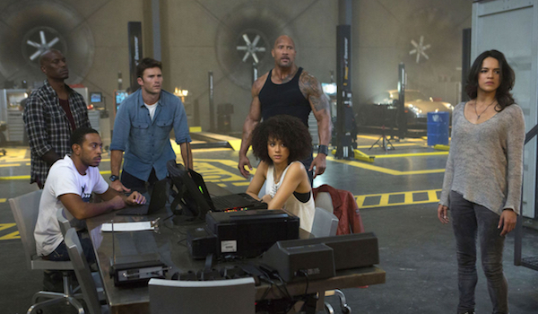Michelle Rodriguez Tyrese Gibson Ludacris Nathalie Emmanuel Scott Eastwood Dwayne Johnson The Fate of the Furious