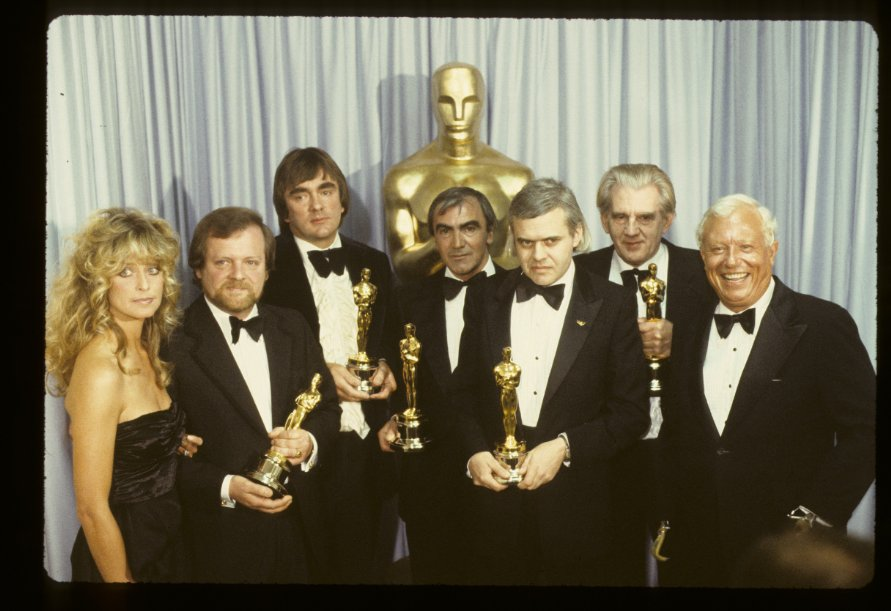Farrah Fawcett, Nick Allder, Dennis Ayling, H.R. Giger, Brian Johnson, Carlo Rambaldi and Harold Russell at event of The 52nd Annual Academy Awards (1980)