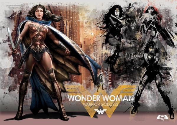 Batman Superman Dawn Of Justice Warrior Goddess Mightyprint Wall Art