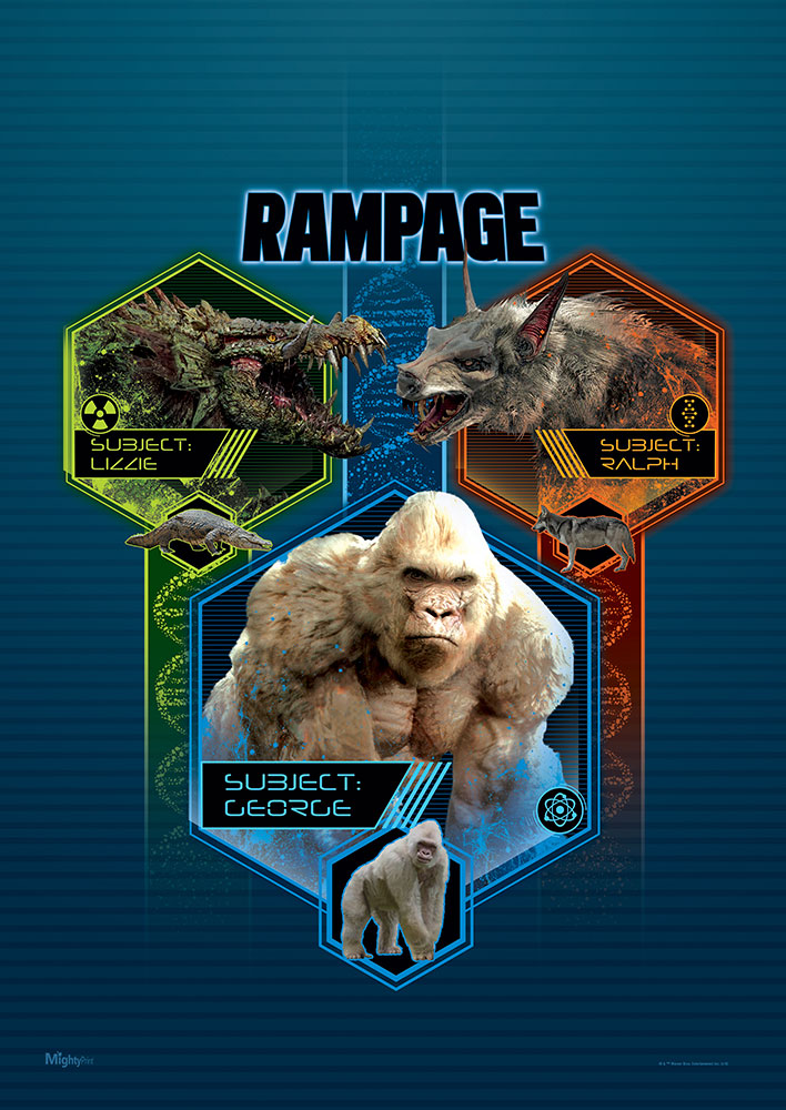 Rampage George Lizzie and Ralph MightyPrint Wall Art