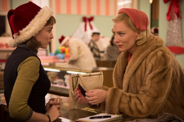 Rooney Mara and Cate Blanchett in Carol (costume designed by Sandy Powell)