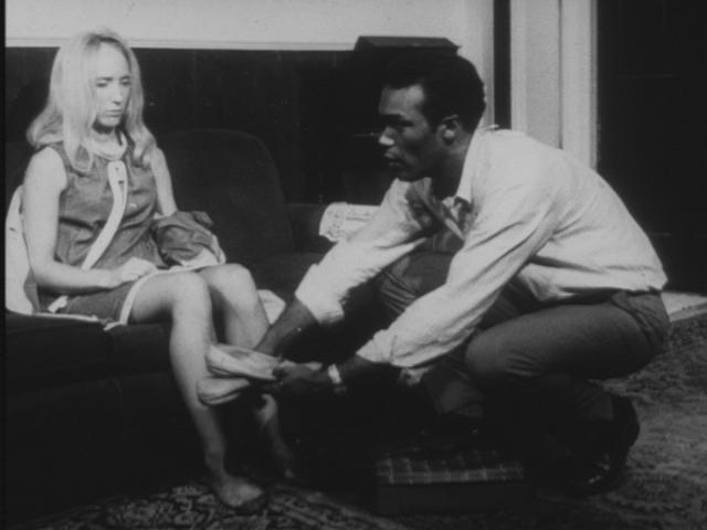 Ben giving Barbra slippers in Night of the Living Dead by George A Romero