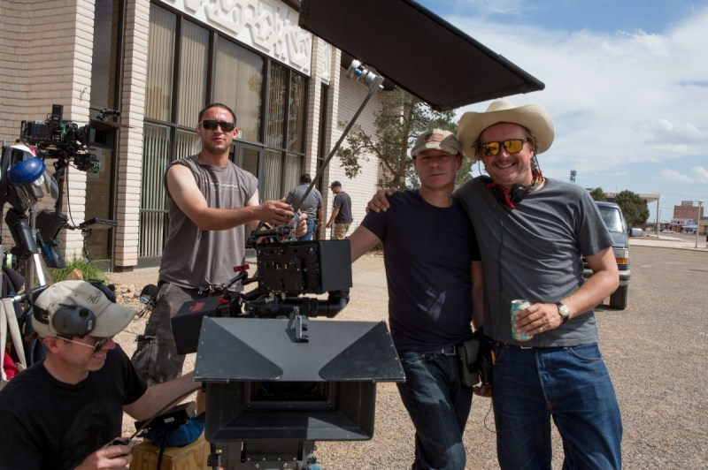 Cinematographer Giles Nuttgens and director David McKenzie on the set of Hell or High Water