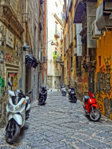 A typical Neapolitan alleyway - complete with scooters!