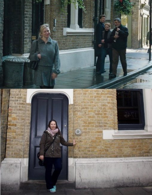 Me in front of Bridget Jones' flat. Photo 1: © Universal Pictures. Photo 2: © Sonja Irani / filmfantravel.com