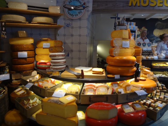 Inside the Amsterdam Cheese Museum.