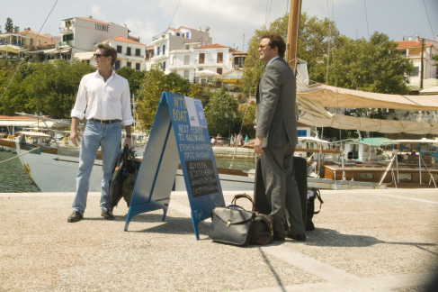 Pierce Brosnan (Sam) and Colin Firth at the Old Port of Skiathos. © 2008 Universal Studios