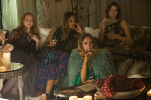 "Models Lily Cole, Jourdan Dunn, Suki Waterhouse and Alexa Chung in ""Absolutely Fabulous"". © 2016 Twentieth Century Fox"