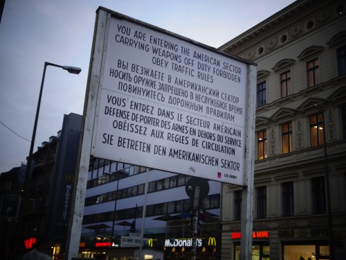 Border crossing sign at Checkpoint Charlie Photo: © Sonja Irani / filmfantravel.com