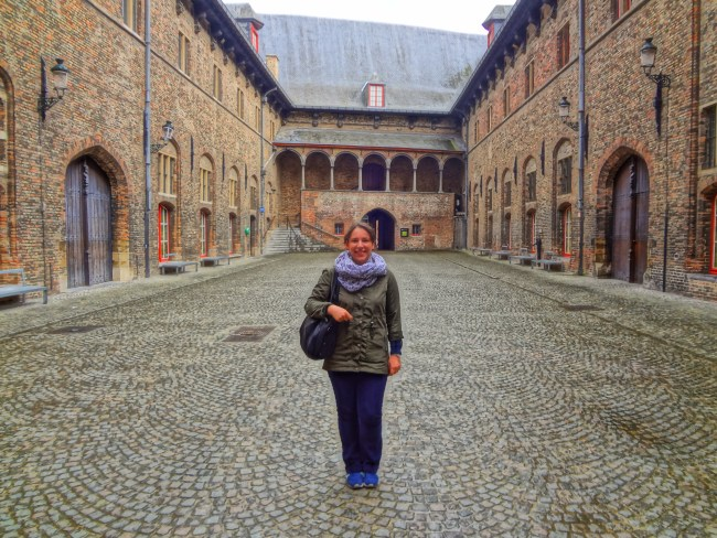 "Me in Bruges, Belgium – film location for ""The White Queen"". Photo: filmfantravel.com"