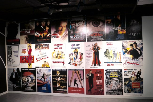 The movie wall at the German Spy Museum