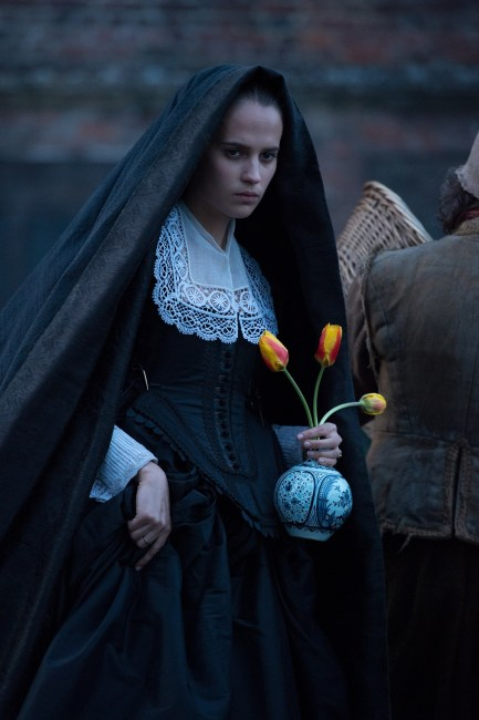 "Alicia Vikander in ""Tulip Fever"". Photo: Alex Bailey © 2014 The Weinstein Company."