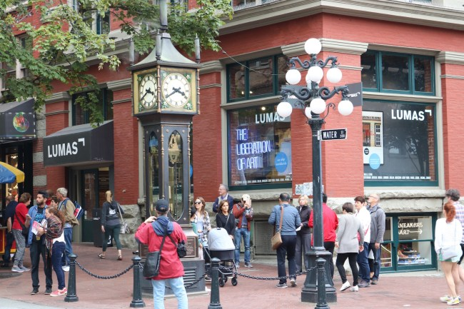 """Vancouver's famous """"steam clock"""" can be found just opposite the restaurant"""