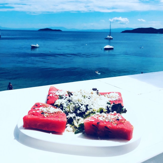 Watermelon lunch on the island of Skiathos