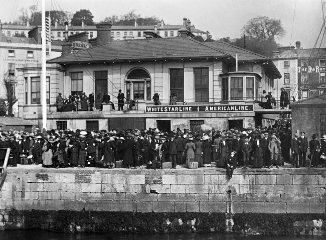 Titanic passengers waiting to embark on the White Star tenders on April 11.1912. Photo taken by Father Browne. Courtesy of Titanic Experience Cobh.