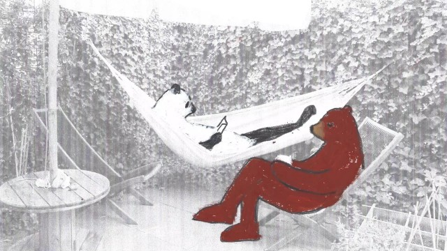 Image Description: An animated image of a hammock, which a panda is reading a book. On a sits a grizzly bear.