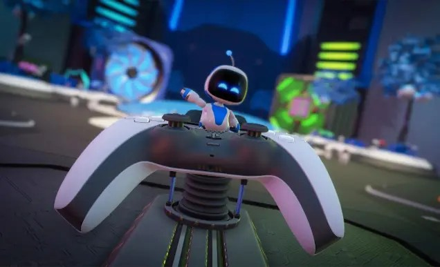 A little white robot emerges from the inside of a Playstation controller, waving with joy.
