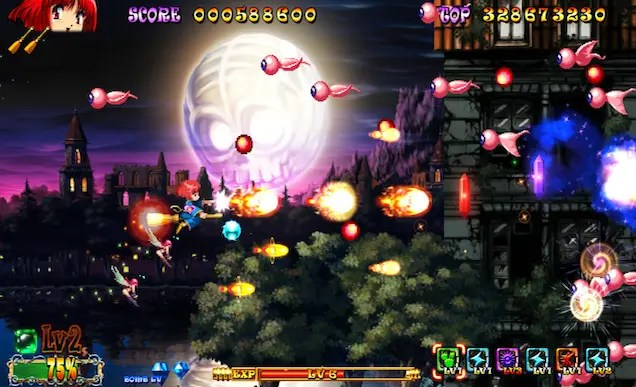 A screenshot from a video game. It is a 2D side-scrolling shoot em up. On the far left is a red-haired witch flying on a broom, shooting fireballs from her wand. Across the screen are flying eyeballs with pink tendrils. In the background are trees and a moon with a skull face on the surface.