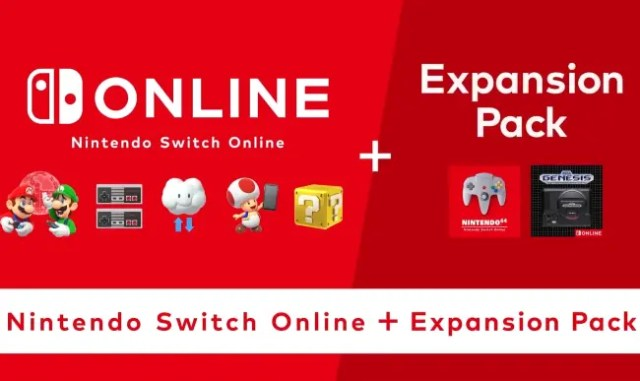 A banner featuring two main headings: on the left is 'Online, Nintendo Switch Online' and to the right 'Expansion Pack'. A banner at the bottom reads 'Nintendo Switch Online + Expansion Pack'