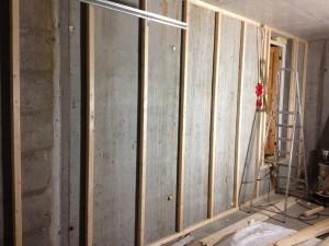 Lining of garage wall in Vanghuset.