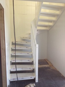 The staircase is mounted
