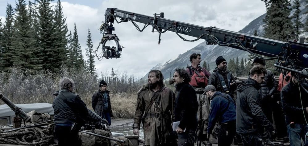 The Revenant behind the scenes photo featuring it's Director of Photography