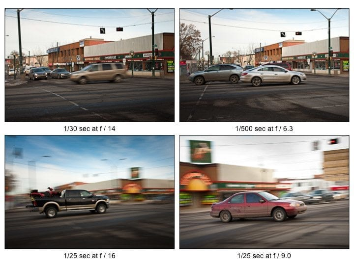 Examples of shutter speed and how it effects exposure.