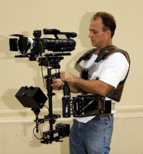 A cinematographer working with a steadicam