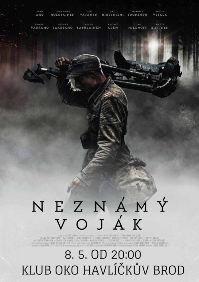 Plakát k filmu Neznámý voják. Na plakátu je vidět pochodujícího finského vojáka s kulometem na rameni