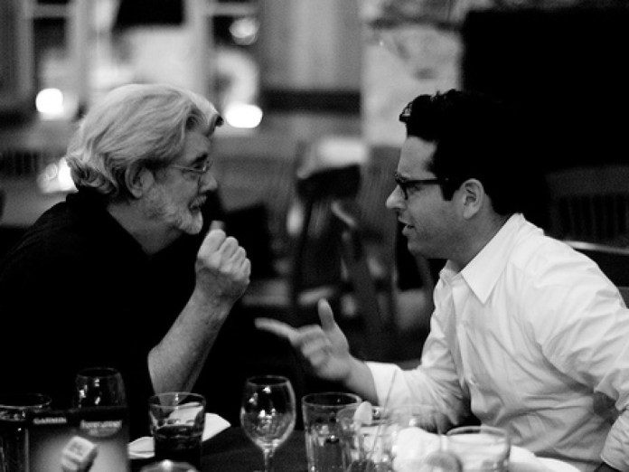 J J Abrams and George Lucas discussing Star Wars