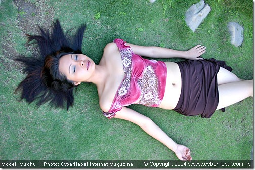 madhu_bhattarai rajesh hamal girlfriend - lying down