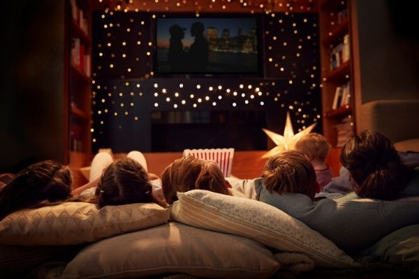Family watching film