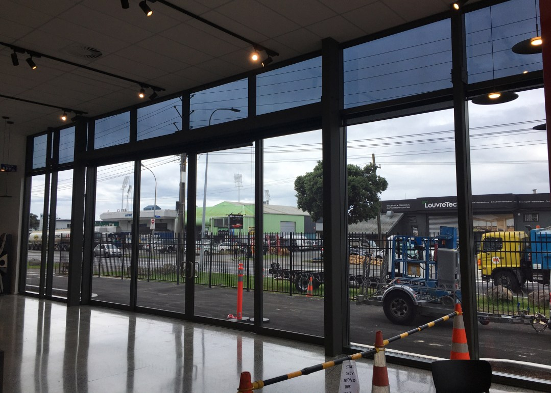 Commercial highlight window tinting to reduce glare
