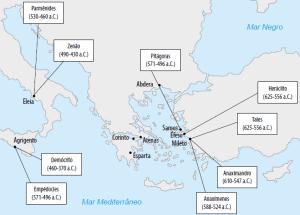 mapa dos filósofos pré-socráticos