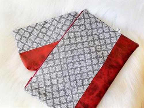 Grande pochette plate similicuir et tissu