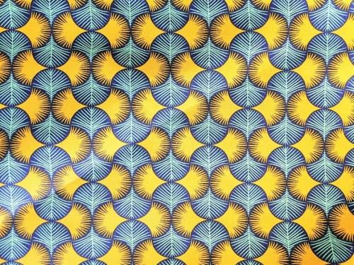 Tissu coton cretonne bleu jaune motifs art déco