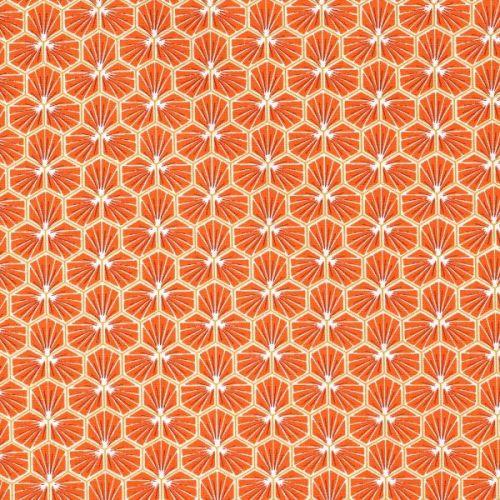 Tissu cretonne coton riage orange