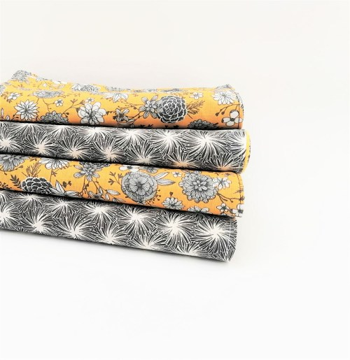 Essuie tout fleuri noir et jaune Zéro déchet