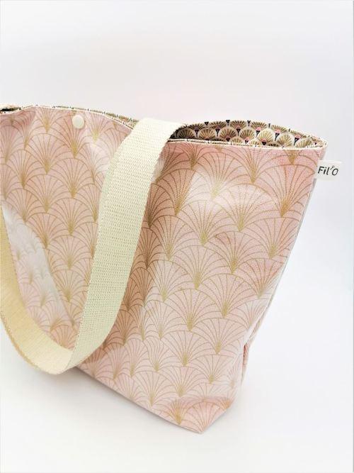 Sac cabas éventail rose poudré doré pour la plage, les courses ou en sac à main