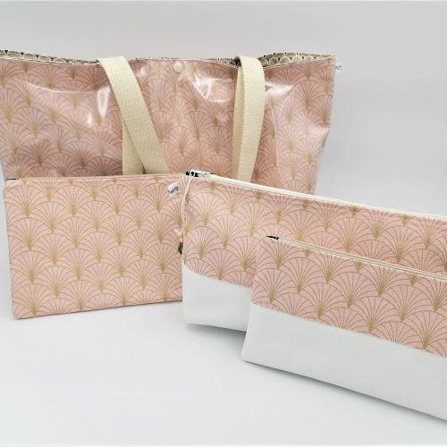 Sac cabas éventail rose poudré doré avec trousse et pochette