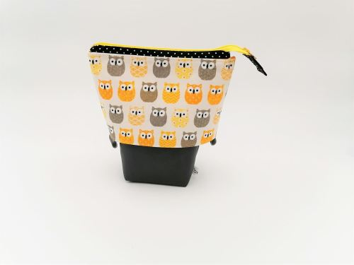 Trousse Pot à crayons Chouettes jaunes