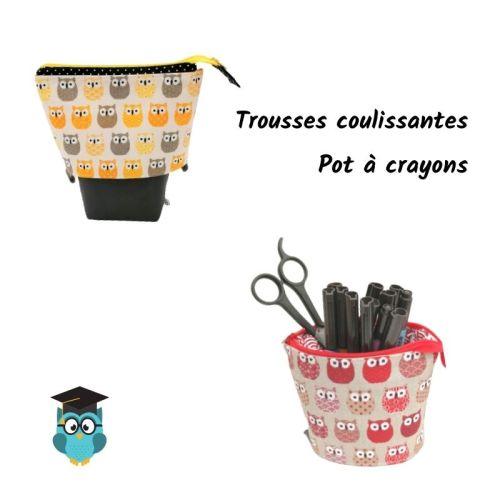 Trousses Pot à crayons Chouettes jaunes ou rouges au choix